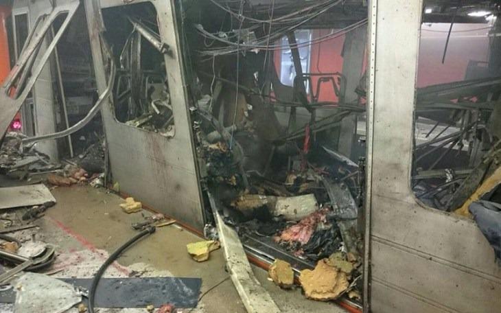Záběr místa exploze v bruselském metru